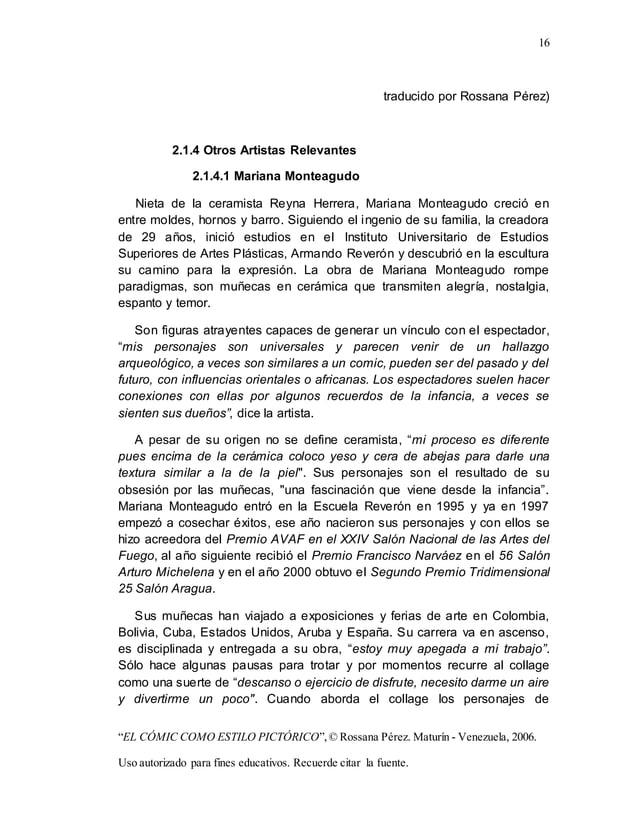 "16 ""EL CÓMIC COMO ESTILO PICTÓRICO"",© Rossana Pérez. Maturín - Venezuela, 2006. Uso autorizado para fines educativos. Recu..."