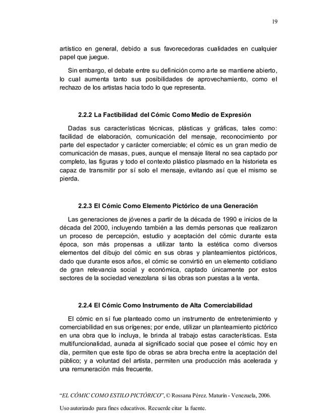 "19 ""EL CÓMIC COMO ESTILO PICTÓRICO"",© Rossana Pérez. Maturín - Venezuela, 2006. Uso autorizado para fines educativos. Recu..."
