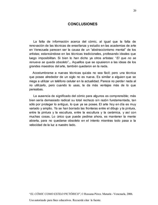"20 ""EL CÓMIC COMO ESTILO PICTÓRICO"",© Rossana Pérez. Maturín - Venezuela, 2006. Uso autorizado para fines educativos. Recu..."