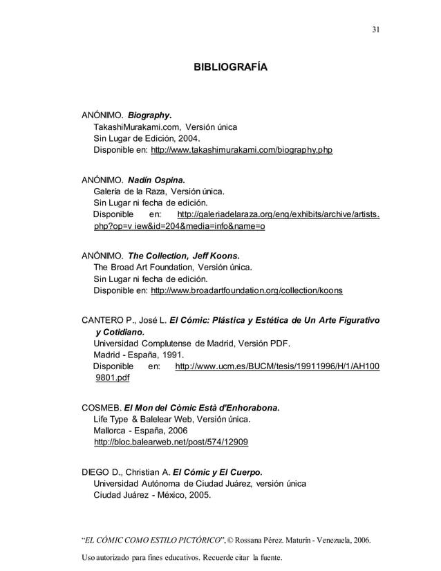 "31 ""EL CÓMIC COMO ESTILO PICTÓRICO"",© Rossana Pérez. Maturín - Venezuela, 2006. Uso autorizado para fines educativos. Recu..."