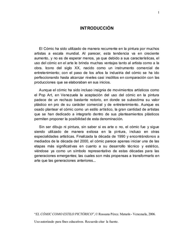 """1 """"EL CÓMIC COMO ESTILO PICTÓRICO"""",© Rossana Pérez. Maturín - Venezuela, 2006. Uso autorizado para fines educativos. Recue..."""