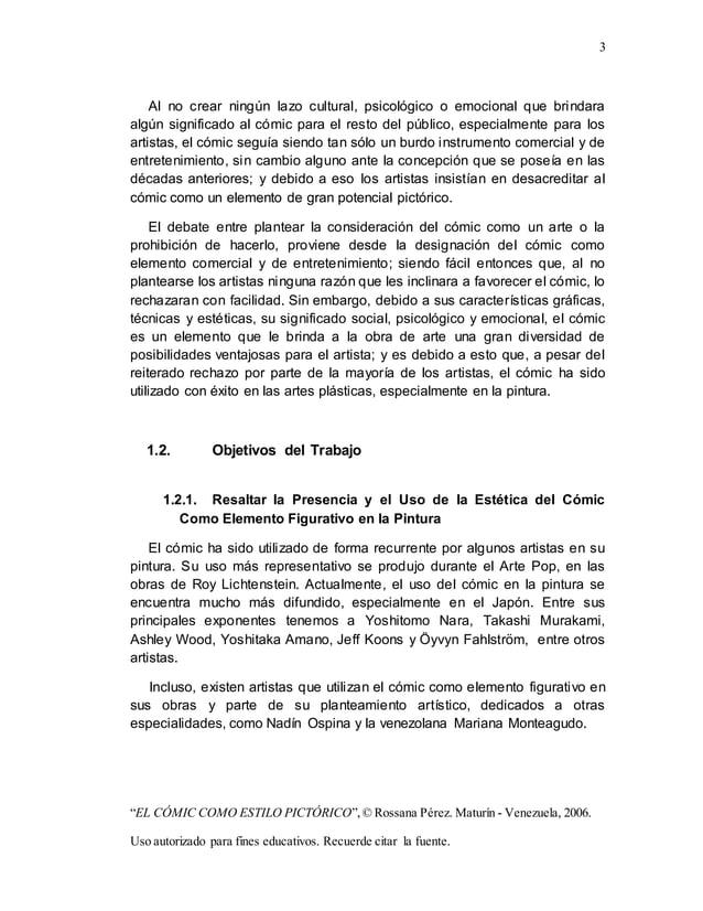 """3 """"EL CÓMIC COMO ESTILO PICTÓRICO"""",© Rossana Pérez. Maturín - Venezuela, 2006. Uso autorizado para fines educativos. Recue..."""