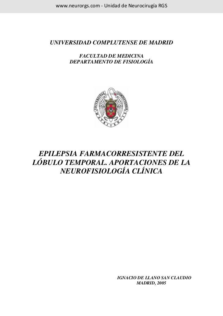www.neurorgs.com - Unidad de Neurocirugía RGS   UNIVERSIDAD COMPLUTENSE DE MADRID             FACULTAD DE MEDICINA        ...