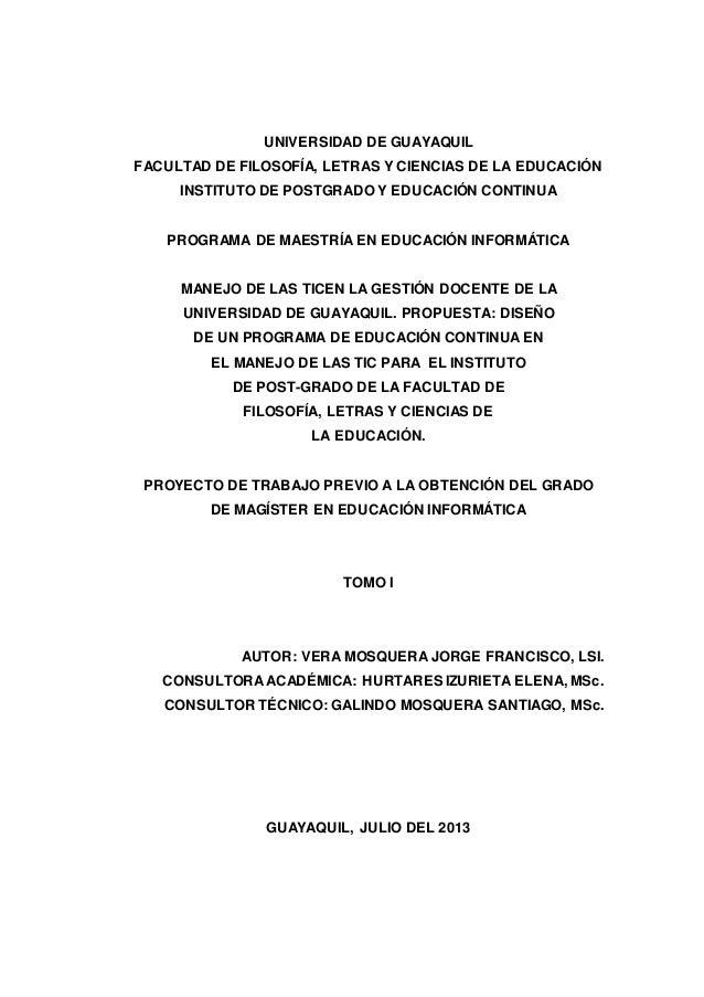 UNIVERSIDAD DE GUAYAQUIL FACULTAD DE FILOSOFÍA, LETRAS Y CIENCIAS DE LA EDUCACIÓN INSTITUTO DE POSTGRADO Y EDUCACIÓN CONTI...