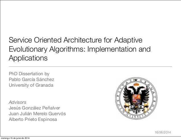 Service Oriented Architecture for Adaptive Evolutionary Algorithms: Implementation and Applications PhD Dissertation by Pa...
