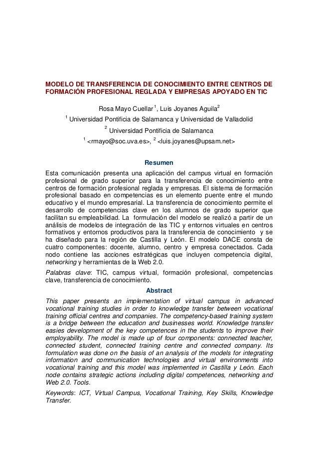 MODELO DE TRANSFERENCIA DE CONOCIMIENTO ENTRE CENTROS DE FORMACIÓN PROFESIONAL REGLADA Y EMPRESAS APOYADO EN TIC Rosa Mayo...