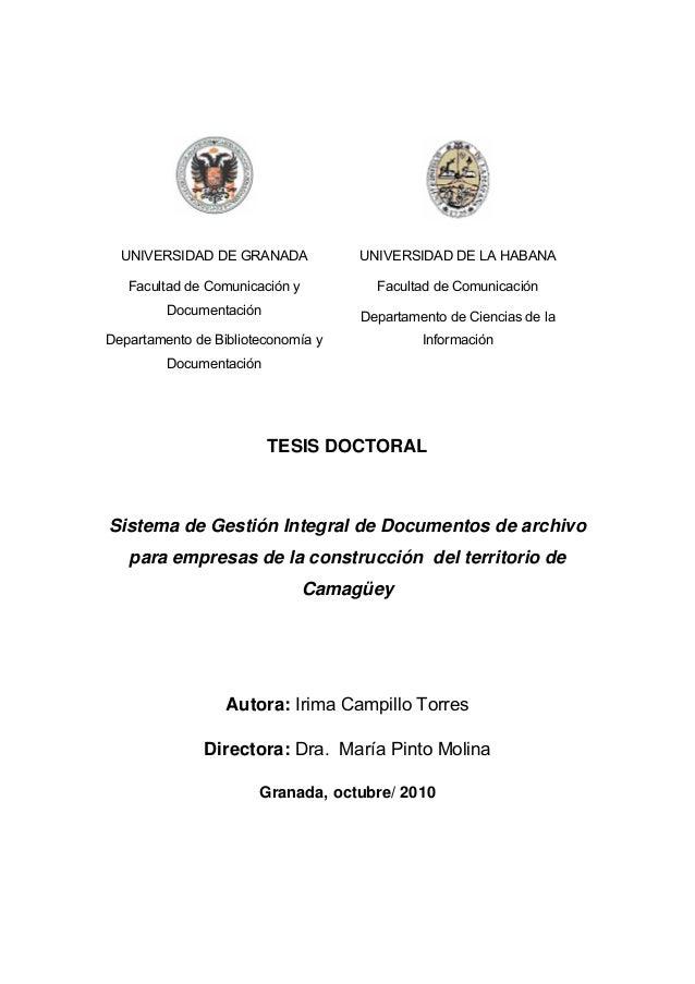 UNIVERSIDAD DE GRANADA Facultad de Comunicación y Documentación Departamento de Biblioteconomía y Documentación UNIVERSIDA...