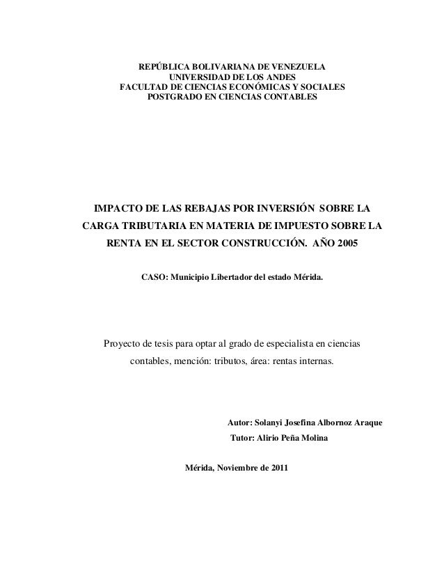 REPÚBLICA BOLIVARIANA DE VENEZUELA               UNIVERSIDAD DE LOS ANDES      FACULTAD DE CIENCIAS ECONÓMICAS Y SOCIALES ...