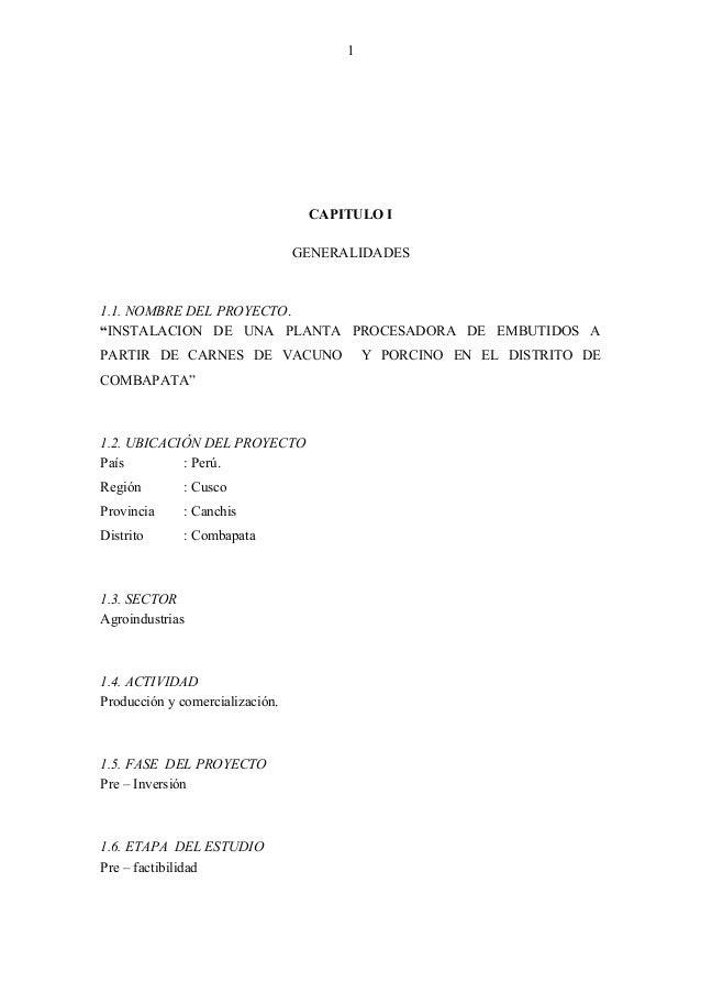 """1 CAPITULO I GENERALIDADES 1.1. NOMBRE DEL PROYECTO. """"INSTALACION DE UNA PLANTA PROCESADORA DE EMBUTIDOS A PARTIR DE CARNE..."""