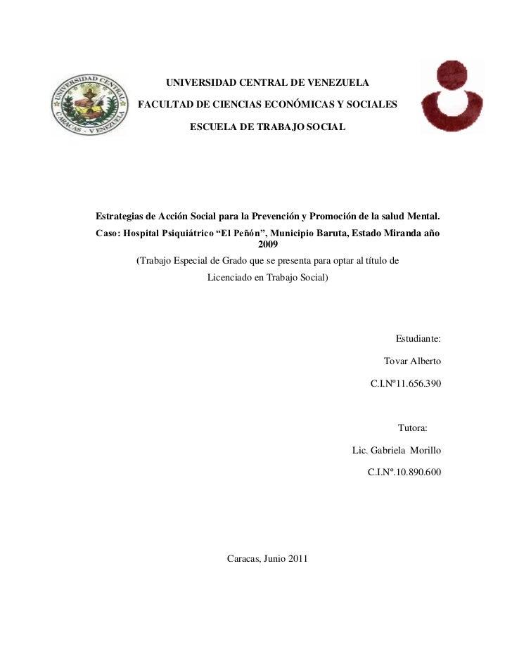 UNIVERSIDAD CENTRAL DE VENEZUELA         FACULTAD DE CIENCIAS ECONÓMICAS Y SOCIALES                      ESCUELA DE TRABAJ...