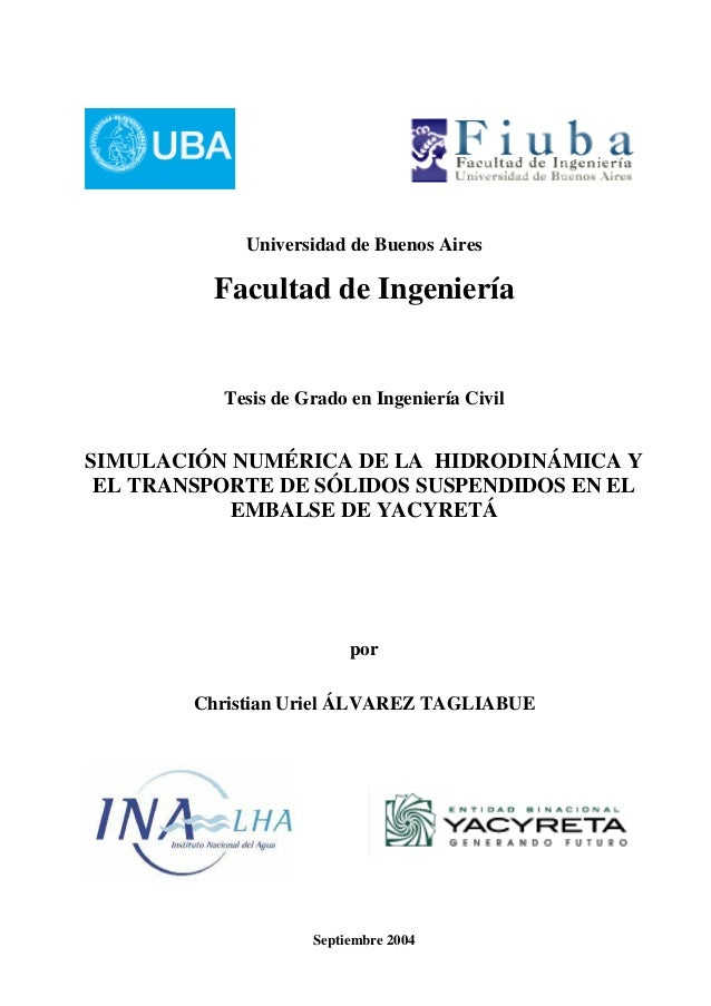 Universidad de Buenos Aires  Facultad de Ingeniería  Tesis de Grado en Ingeniería Civil  SIMULACIÓN NUMÉRICA DE LA HIDRODI...