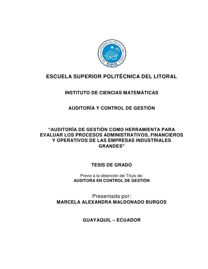 ESCUELA SUPERIOR POLITÉCNICA DEL LITORAL        INSTITUTO DE CIENCIAS MATEMÁTICAS         AUDITORÍA Y CONTROL DE GESTIÓN  ...