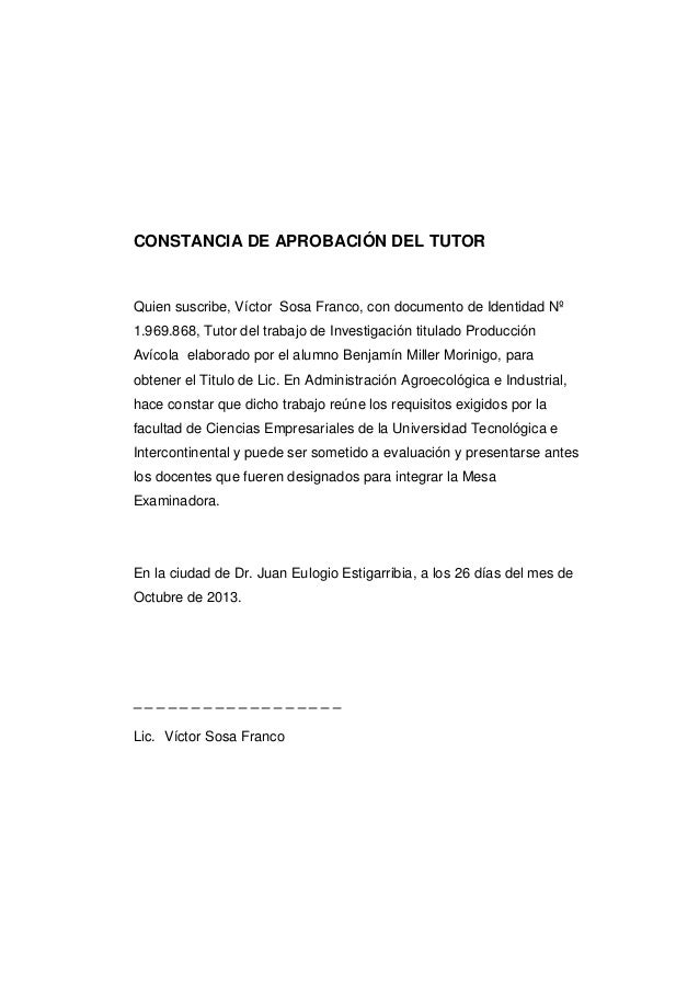 Tesis avicola for Modelo de contrato de trabajo de empleada domestica