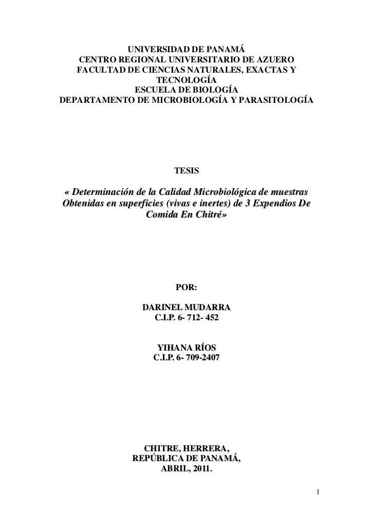 UNIVERSIDAD DE PANAMÁ   CENTRO REGIONAL UNIVERSITARIO DE AZUERO   FACULTAD DE CIENCIAS NATURALES, EXACTAS Y               ...