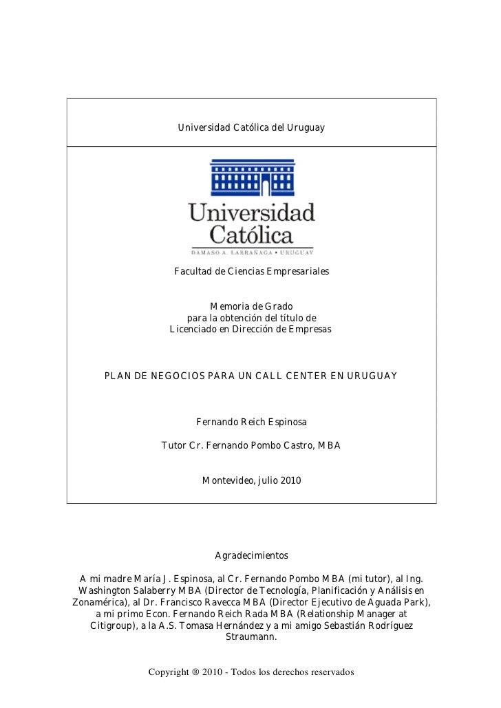 Universidad Católica del Uruguay                           Facultad de Ciencias Empresariales                             ...