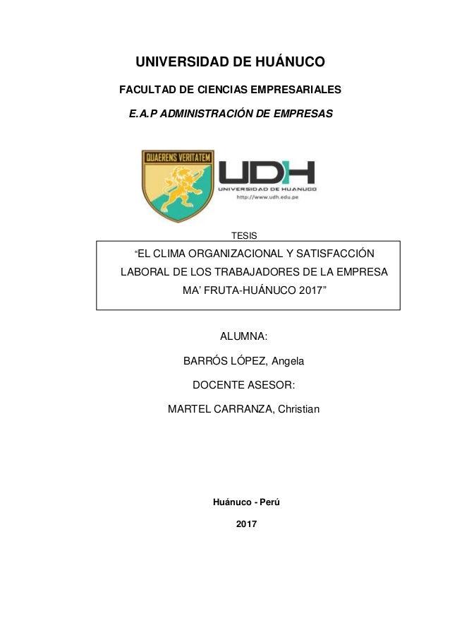 Tesis Clima Organizacional Y Satisfacción Laboral