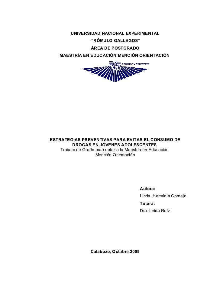 """UNIVERSIDAD NACIONAL EXPERIMENTAL                   """"RÓMULO GALLEGOS""""                   ÁREA DE POSTGRADO     MAESTRÍA EN ..."""