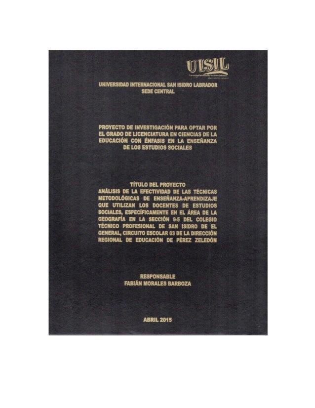 Universidad Internacional San Isidro Labrador Sede Central Proyecto de Investigación Para Optar Por El Grado de Licenciatu...