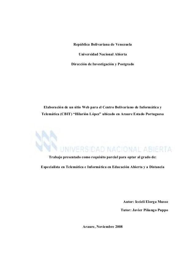 República Bolivariana de Venezuela Universidad Nacional Abierta Dirección de Investigación y Postgrado Elaboración de un s...