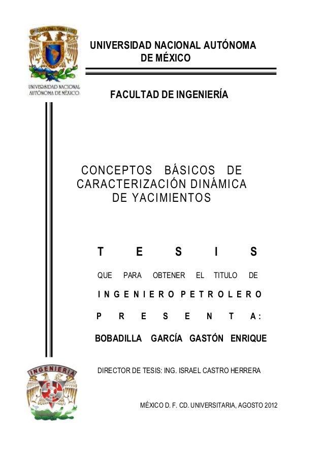 UNIVERSIDAD NACIONAL AUTÓNOMA DE MÉXICO FACULTAD DE INGENIERÍA CONCEPTOS BÁSICOS DE CARACTERIZACIÓN DINÁMICA DE YACIMIENTO...
