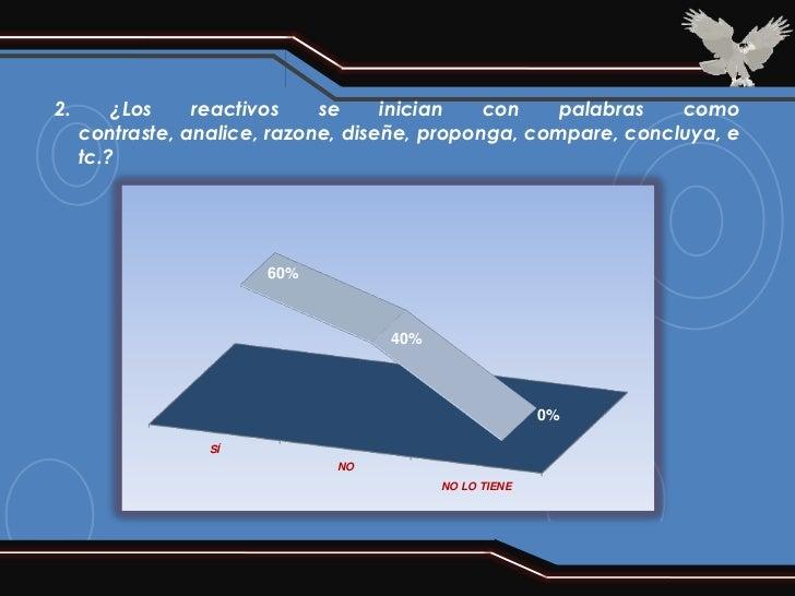2.       ¿Los    reactivos    se     inician   con   palabras    como     contraste, analice, razone, diseñe, proponga, co...