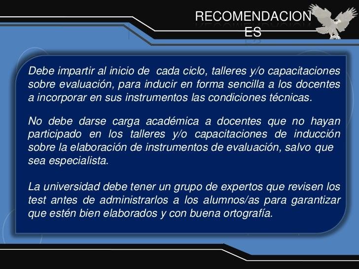 RECOMENDACION                                        ESDebe impartir al inicio de cada ciclo, talleres y/o capacitacioness...