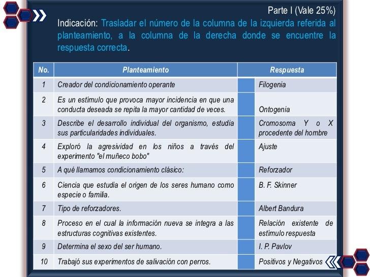 Parte I (Vale 25%)      Indicación: Trasladar el número de la columna de la izquierda referida al      planteamiento, a la...