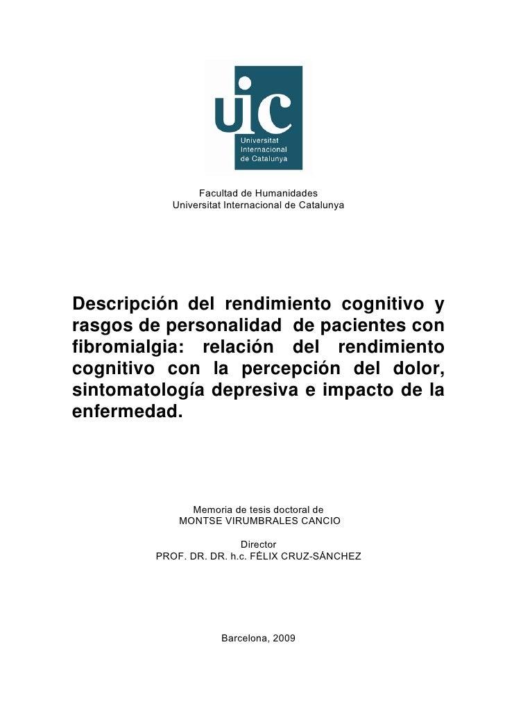 Facultad de Humanidades          Universitat Internacional de CatalunyaDescripción del rendimiento cognitivo yrasgos de p...