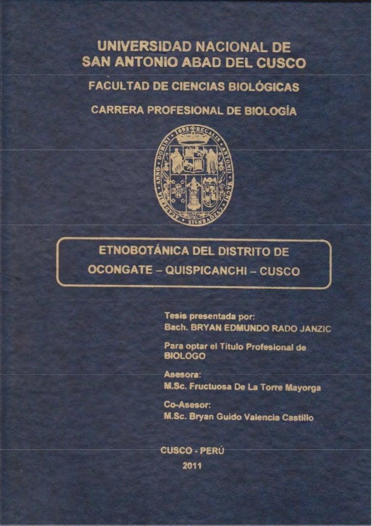 UNIVERSIDAD NACIONAL DE SAN ANTONIO ABAD               DEL CUSCO     FACULTAD DE CIENCIAS BIOLÓGICAS      CARRERA PROFESIO...
