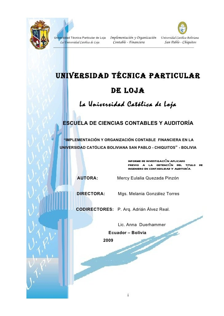 Implementación y Organización Universidad Católica BolivianaUniversidad Técnica Particular de Loja    La Universidad Catól...