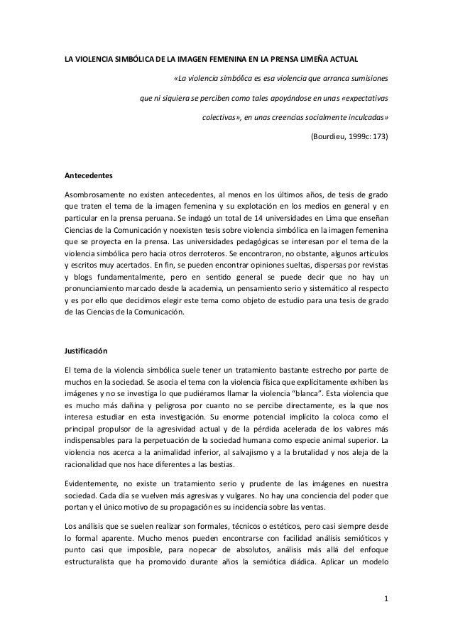 LA VIOLENCIA SIMBÓLICA DE LA IMAGEN FEMENINA EN LA PRENSA LIMEÑA ACTUAL                                «La violencia simbó...