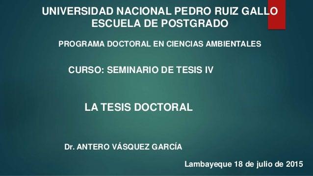 UNIVERSIDAD NACIONAL PEDRO RUIZ GALLO ESCUELA DE POSTGRADO PROGRAMA DOCTORAL EN CIENCIAS AMBIENTALES CURSO: SEMINARIO DE T...