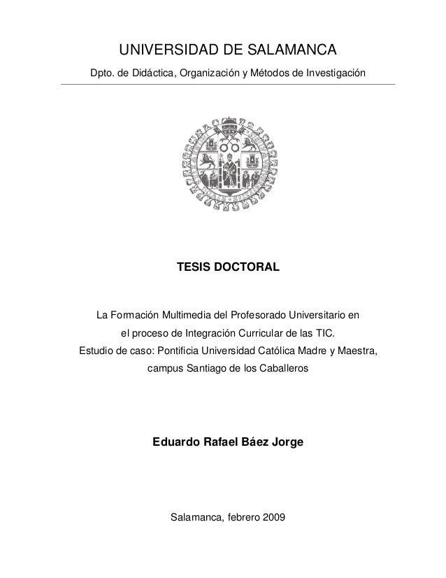 UNIVERSIDAD DE SALAMANCA  Dpto. de Didáctica, Organización y Métodos de Investigación                     TESIS DOCTORAL  ...