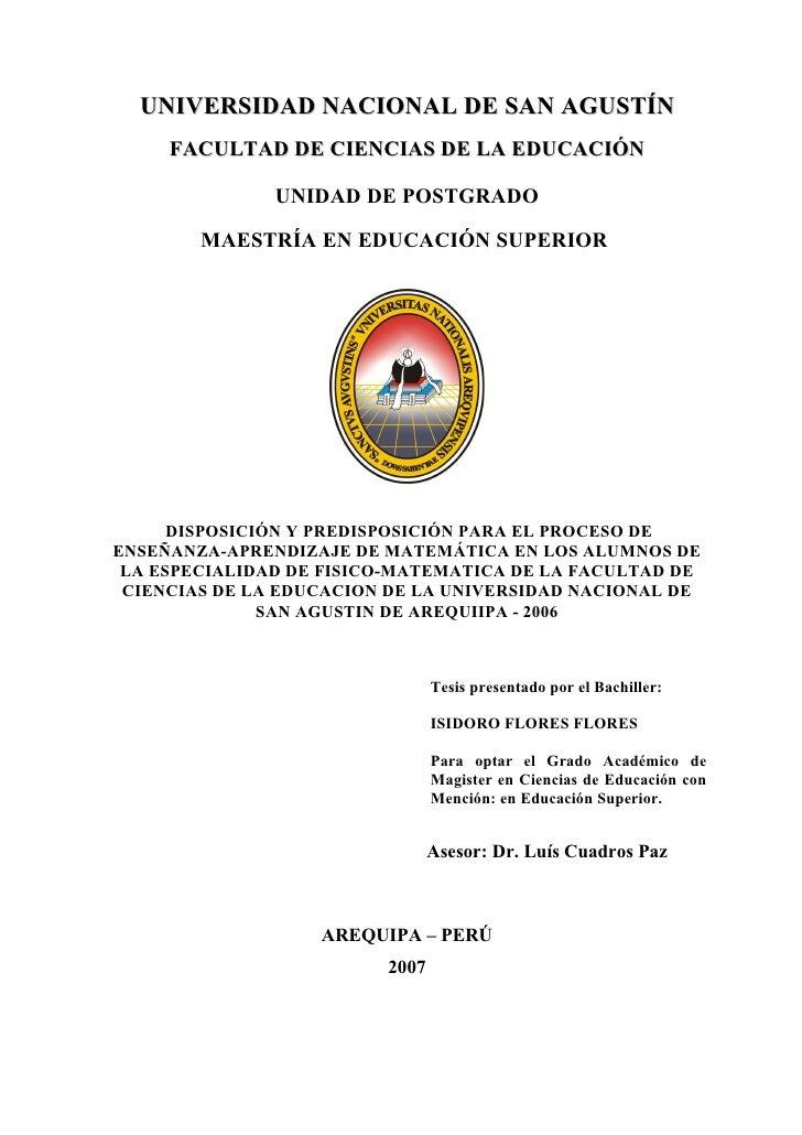 UNIVERSIDAD NACIONAL DE SAN AGUSTÍN      FACULTAD DE CIENCIAS DE LA EDUCACIÓN                 UNIDAD DE POSTGRADO         ...