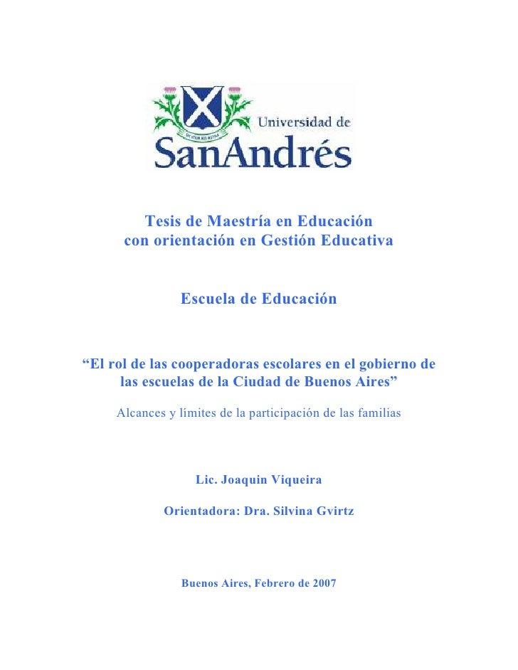"""Tesis de Maestría en Educación       con orientación en Gestión Educativa                    Escuela de Educación   """"El ro..."""