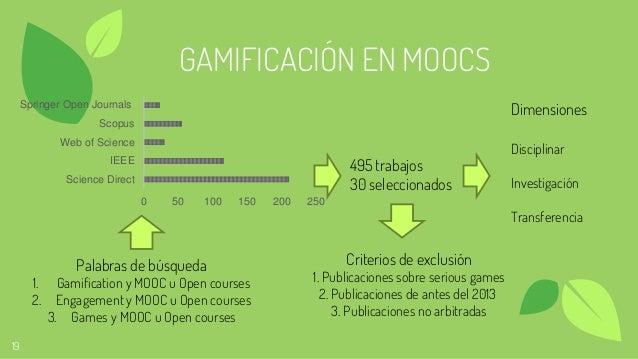 19 GAMIFICACIÓN EN MOOCS Dimensiones Disciplinar Investigación Transferencia 495 trabajos 30 seleccionados 0 50 100 150 20...