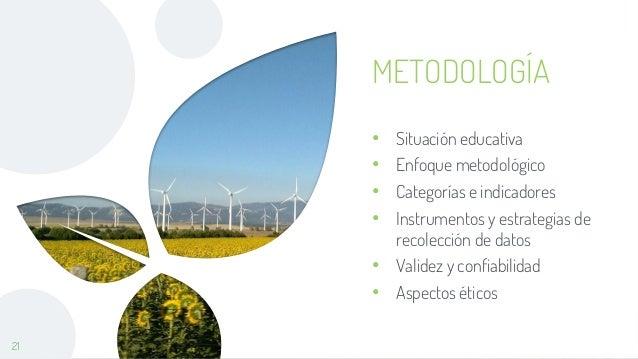 21 METODOLOGÍA • Situación educativa • Enfoque metodológico • Categorías e indicadores • Instrumentos y estrategias de rec...