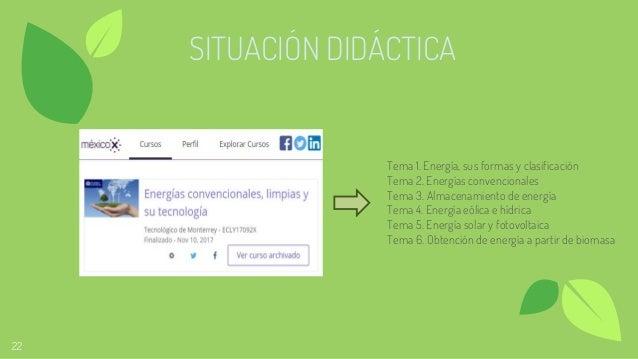 22 SITUACIÓN DIDÁCTICA Tema 1. Energía, sus formas y clasificación Tema 2. Energías convencionales Tema 3. Almacenamiento ...