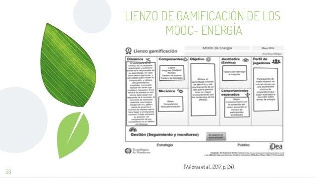 23 (Valdivia et al., 2017, p. 24). LIENZO DE GAMIFICACIÓN DE LOS MOOC- ENERGÍA