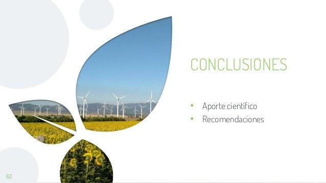 62 CONCLUSIONES • Aporte científico • Recomendaciones