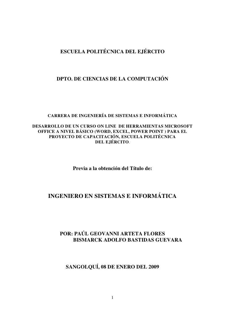 ESCUELA POLITÉCNICA DEL EJÉRCITO        DPTO. DE CIENCIAS DE LA COMPUTACIÓN     CARRERA DE INGENIERÍA DE SISTEMAS E INFORM...