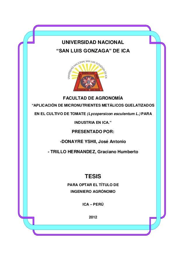 "UNIVERSIDAD NACIONAL ""SAN LUIS GONZAGA"" DE ICA  FACULTAD DE AGRONOMÍA ""APLICACIÓN DE MICRONUTRIENTES METÁLICOS QUELATIZADO..."