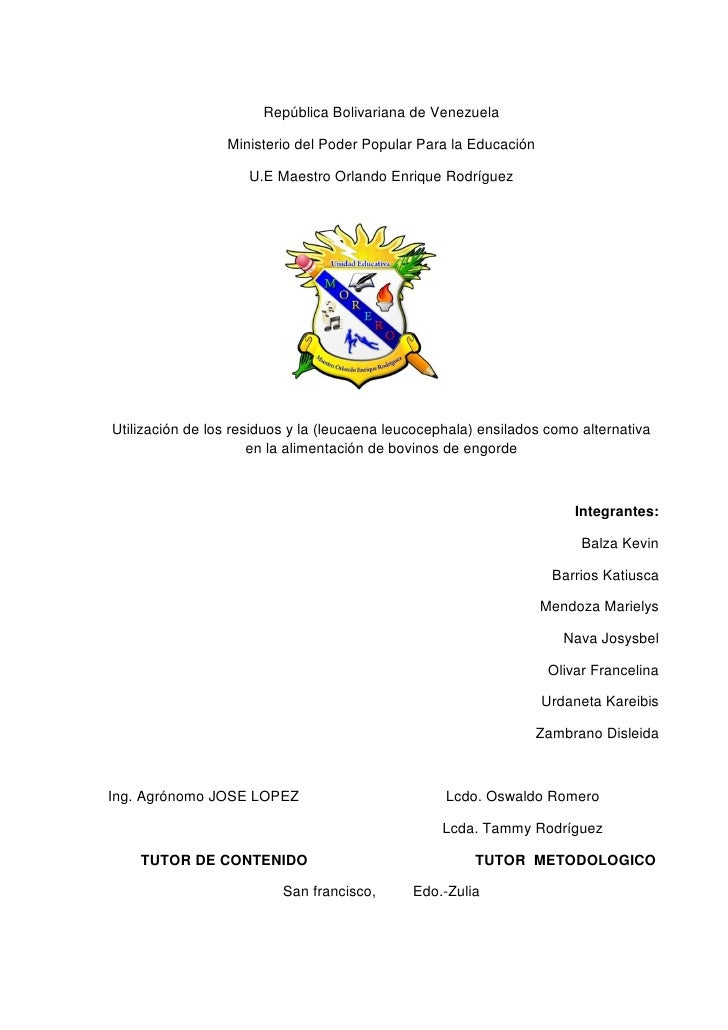 República Bolivariana de Venezuela                 Ministerio del Poder Popular Para la Educación                     U.E ...