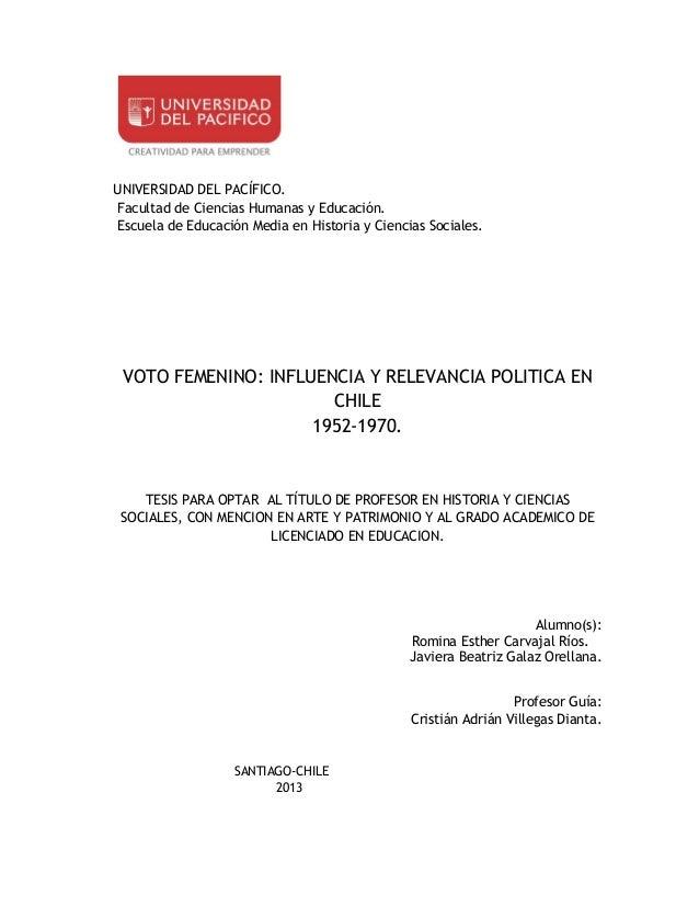 UNIVERSIDAD DEL PACÍFICO. Facultad de Ciencias Humanas y Educación. Escuela de Educación Media en Historia y Ciencias Soci...