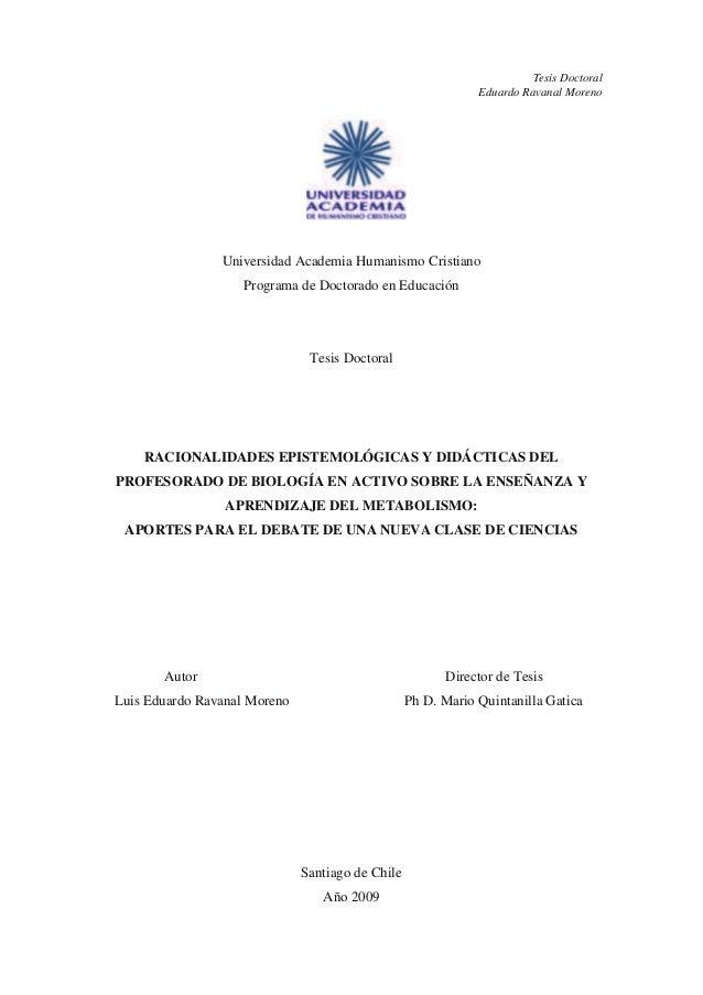 Tesis Doctoral Eduardo Ravanal Moreno  Universidad Academia Humanismo Cristiano Programa de Doctorado en Educación  Tesis ...