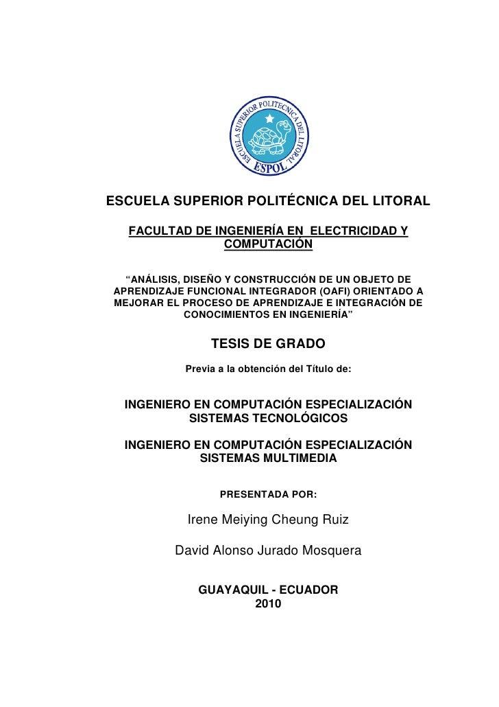 """ESCUELA SUPERIOR POLITÉCNICA DEL LITORAL  FACULTAD DE INGENIERÍA EN ELECTRICIDAD Y                COMPUTACIÓN  """"ANÁLISIS, ..."""