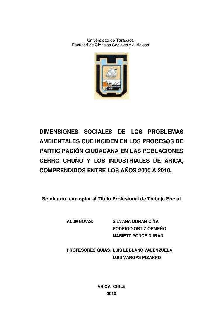 Universidad de Tarapacá            Facultad de Ciencias Sociales y JurídicasDIMENSIONES SOCIALES DE LOS PROBLEMASAMBIENTAL...