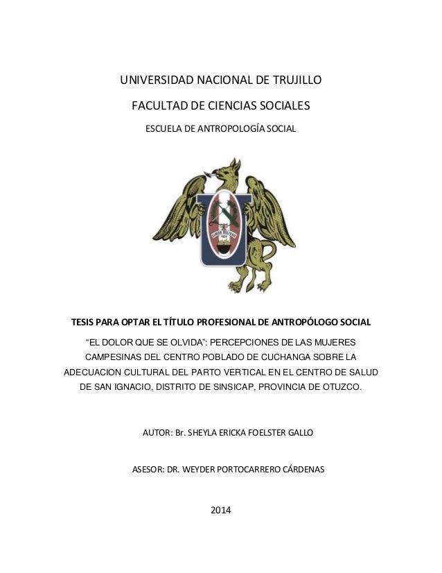UNIVERSIDAD NACIONAL DE TRUJILLO FACULTAD DE CIENCIAS SOCIALES ESCUELA DE ANTROPOLOGÍA SOCIAL TESIS PARA OPTAR EL TÍTULO P...