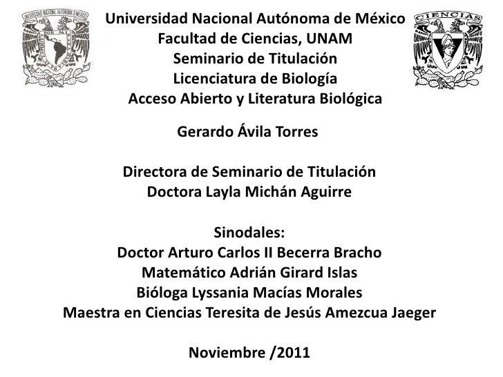 Universidad Nacional Autónoma de México            Facultad de Ciencias, UNAM              Seminario de Titulación        ...