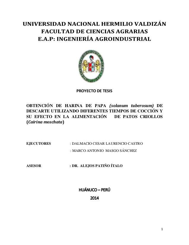 1  PROYECTO DE TESIS  OBTENCIÓN DE HARINA DE PAPA (solanum tuberosum) DE  DESCARTE UTILIZANDO DIFERENTES TIEMPOS DE COCCIÓ...